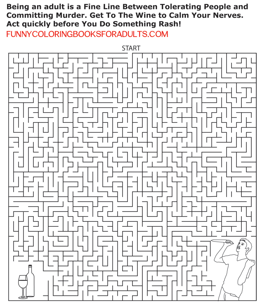 wine or murder maze funny activity page for adults u2013 funny