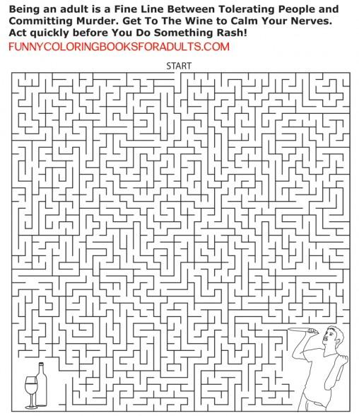 Adult Maze Puzzle - Wine or Murder